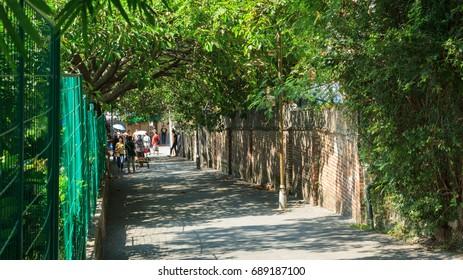 Xiamen,China - Aug 23, 2014:Tourists Walk At Gulangyu Islet Street In Xiamen City,Fujian,China