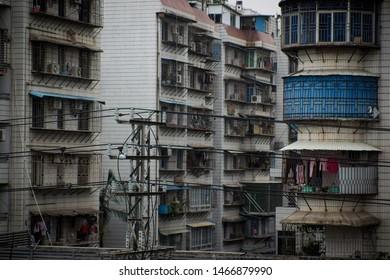 Xiamen/China-06.01.2017:The windows of block houses in Xiamen