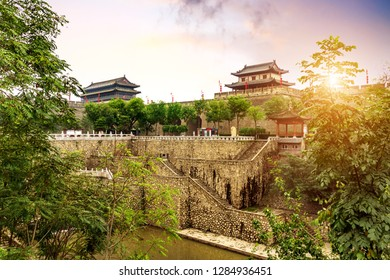 Xi'an ancient city wall and moat, China Shaanxi.