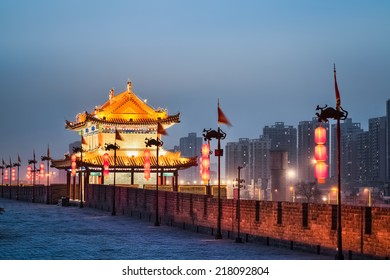 xian ancient tower on the city wall in nightfall