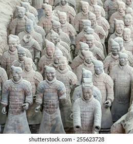 XIAN - APRIL 9: exhibition of the famous Chinese Terracotta Warriors on April 9, 2014 in Xian, China. The terracotta warriors are made in 210-??209 BCE to protect the emperor in his afterlife.