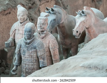 XIAN - APRIL 9: exhibition of the famous Chinese Terracotta Warriors and Horses on April 9, 2014 in Xian, China.The terracotta warriors are made in 210-209 BCE to protect the emperor in his afterlife.