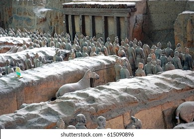 XIAN, CHINA -11 MAR 2017- View of the Terracotta Army (Soldier and horse funerary statues), a collection of thousands of warrior statues buried in pits near Qin Shi Huang Mausoleum in Xi'an, China.