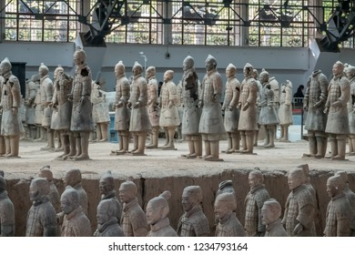XI'AN, CHINA - 17 OCTOBER 2018: Detail of the pottery terracotta army warriors and soldiers found outside Xi'an China