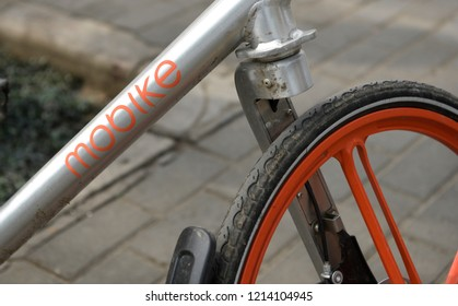 XI'AN, CHINA - APRIL 14 2017:  A Mobike branded bicycle is seen on April 14, 2017 in Xi'an, China