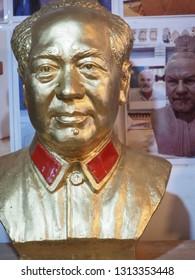 Xian, China, April 18, 2019. Terracotta Bust of Mao Zedong at Terracotta Factory in Xian, China.