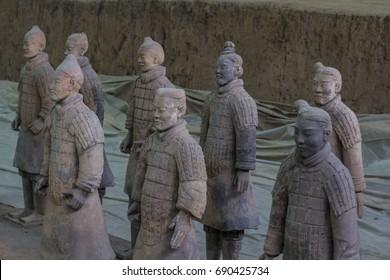 XIAN, CHINA - April 5, 2016: Terracota warriors in Xian, China