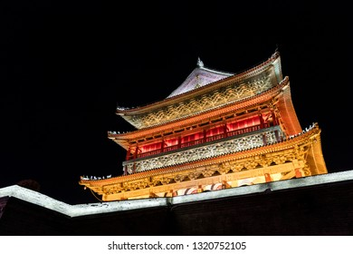 Xi'an, China - August 1, 2017: Night time at the Drum Tower of Xi'an