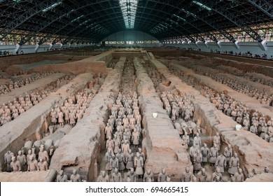 XIAN, CHINA - August 1, 2017: Terracota warriors in Xian, China.