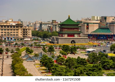 Xian / China - August 3rd 2015: The Bell Tower of Xi'an, built in 1384 during the early Ming Dynasty, is a symbol of the city of Xi'an and one of the grandest of its kind in China.