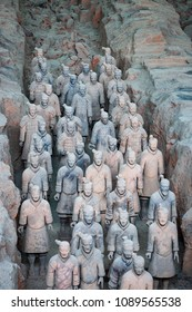 Xian, China - August 6, 2012: Detail of a rank of Terracotta Warriors near the city of Xian in China