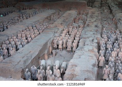 Xian, China - August 6, 2012: Ranks of Terracotta Warriors near the city of Xian in China