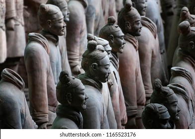 Xian, China - August 6, 2012: Detail of Terracotta Warriors near the city of Xian in China