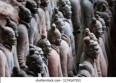 Xian, China - August 6, 2012: Detail of Terracotta Warriors near the city of Xian in China