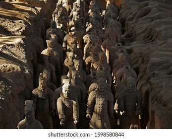Xian / China - December 1 2019 : The Terracotta Army of Qin Shi Huang, the First Emperor of China, a UNESCO World Heritage Site located in Xian City, Shaanxi Province, China.
