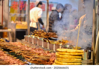 XIAN, CHINA - JANUARY 20, 2017: The mood of muslim night market in Xian, china with muslim people feeling, Xian, Chang-an
