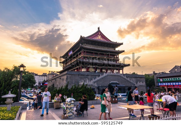 Xi'an, China - July 22, 2014: Twilight at the Drum Tower of Xi'an
