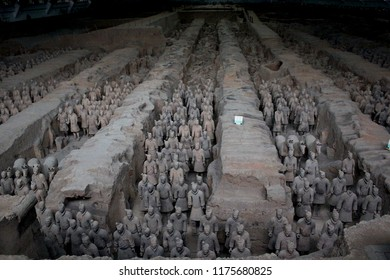 Xian, China, July 30, 2018 - The world famous Terracotta Army, part of the Mausoleum of the First Qin Emperor and a UNESCO World Heritage Site located in Xian, China.