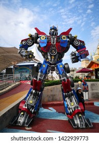xian, China- June 9,2019: big Optimus Prime of Transformers is standing in Playground