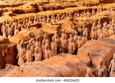 XIAN, CHINA - MAR 29, 2016: Terracotta Army (Soldier and horse funerary statues),  sculptures depicting the armies of Qin Shi Huang, the first Emperor of China. UNESCO World Heritage