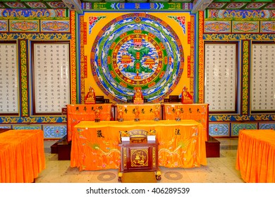 XIAN, CHINA - MAR 30, 2016: Interior of a pavilaion at Giant Wild Goose Pagoda complex, a Buddhist pagoda Xi'an, Shaanxi province, China. It was built in 652 during the Tang dynasty.