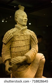 XIAN, CHINA - May 11, 2017:  The sculpture in Terracotta Army, a form of funerary art buried with the emperor and whose purpose was to protect the emperor in his afterlife.