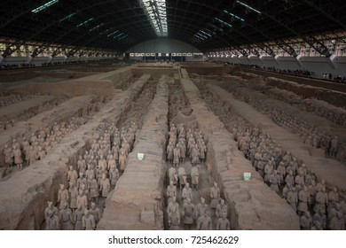 XIAN, CHINA - May 11, 2017:  The Terracotta Army, a form of funerary art buried with the emperor and whose purpose was to protect the emperor in his afterlife.