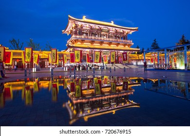 XIAN, CHINA - May 12, 2017:  The lighting of Xian Tang Paradise, a famous theme park in Shaanxi, in evening.
