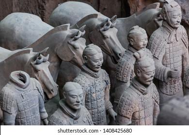 Xian, China - May 19, 2018: Warriors of famous Terracotta Army in Xian China.