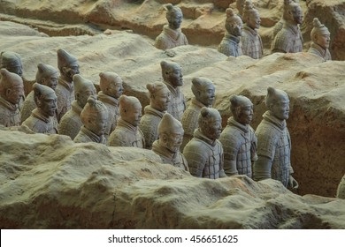 XIAN, CHINA - MAY 2016 - The Terracotta Army in pit number 1 at the Museum of Qin Terracotta Warriors and Horses, Xian, China.