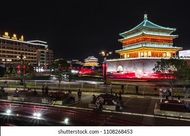 XIAN, CHINA - MAY 23, 2018: Famous Bell Tower in the Xi'an city, China. Xi'an is capital of Shaanxi Province and one of the oldest cities in China.