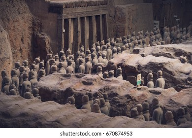Xi'an, China - May 27, 2017: Lines of clay statues of ancient chinese warriors, guards of Qin Shi Huang emperor, so called Terracotta Army