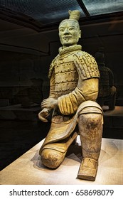 Xian, China, May 30, 2017  The famous Kneeling Archer unearthed in Pit 2 of the Terracotta Army. Altogether 160 kneeling archers were found in pit 2.  Xian, Shaanxi province, China