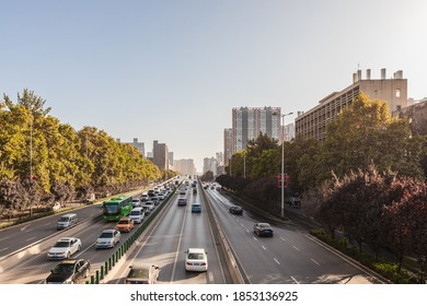 Xi'an, China, November 7, 2020: urban modern architecture and road landscape on the second ring road of Xi'an in autumn