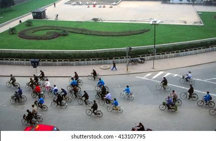 XIAN, CHINA - OCT 28, 2001 - Bicycles in roundabout in Xian, China