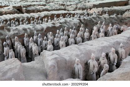 XIAN, CHINA-- OCTOBER 14, 2013: Qin dynasty Terracotta Army, Xian (Sian), China
