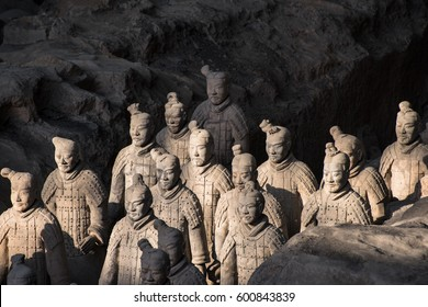 XIAN, CHINA - OCTOBER 15, 2015:The Terracotta Army in the museum of Qin Shi Huang's tomb