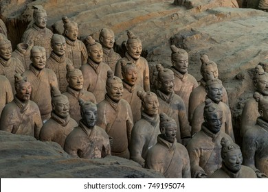 XI'AN, CHINA - OCTOBER 22, 2017: The Terracotta Warriors is a collection of terracotta sculptures depicting the armies of Qin Shi Huang, the first Emperor of China