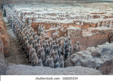 XIAN, CHINA - OCTOBER 23:The Terracotta Army in a museum  on October 23,2013 in Xian, China.The figures date back to 210 BC and belong to China's most important discoveries.