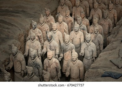 Xian China, October 24, 2015 The world famous Terracotta Army, part of the Mausoleum of the First Qin Emperor and a UNESCO World Heritage Site located in Xian China