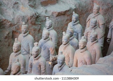 XIAN, CHINA - October 8, 2017: Famous Terracotta Army in Xi'an, China. The mausoleum of Qin Shi Huang, the first Emperor of China contains collection of terracotta sculptures of armored men and horses