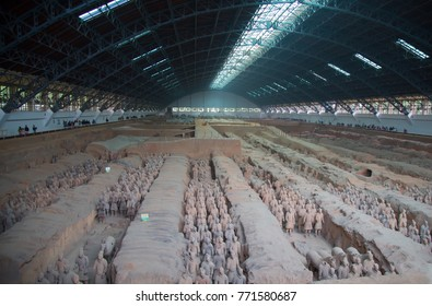 XIAN, CHINA - October 8, 2017: Famous Terracotta Army in Xi'an, China.The mausoleum of Qin Shi Huang, the first Emperor of China contains collection of terracotta sculptures of armored men and horses.