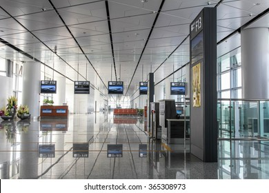 XI'AN, CHINA - SEP 17, 2015: Interior of Xi'an Xianyang International Airport. It is the main airport serving Xi'an, capital of China's Shaanxi Province.