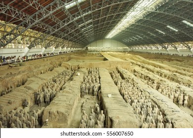 XIAN, CHINA-JULY 24, 2016: Terracotta army grave in Xian, China. Terracotta army is a collection of terracotta sculptures depicting the armies of Qin Shi Huang, the first Emperor of China.