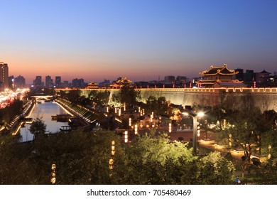Xian City Wall. It is the largest ancient military defensive systems in the world located at Xian ,China