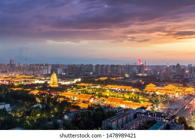 xian cityscape of big wild goose pagoda in sunset, China