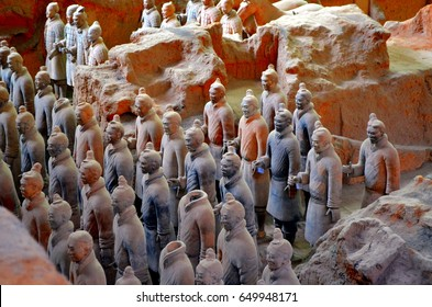 XIAN – MAY 11: exhibition of the famous Chinese Terracotta Army (Terracotta Warriors) on MAY 11 2016 in Xian of Shaanxi Province China The Terracotta Army (Terracotta Warriors) are made in 210-209 BCE
