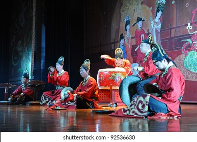 XIAN - NOVEMBER 23: Musicians of the Xian Art Troupe perform the famous Tang Dynasty show at the Xian Theatre on November 23, 2011, in Xian, China.