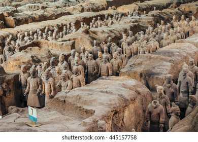 XI'AN, SHAANXI PROVINCE, CHINA - MARCH 8, 2016 : Sculpture of high-ranking officer of the Terracotta Army, the Qin Shi Huang Mausoleum of the First Emperor of China.