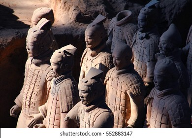 XI'AN, SHAANXI PROVINCE, CHINA - march 3, 2014: Side view of the Terracotta Warriors inside the Qin Shi Huang Mausoleum of the First Emperor of China.